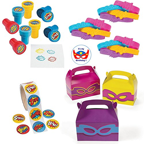 Multiple Superhero Party Favors for Girls - 12 Superhero Sayings Bracelets, 24 Superhero Stampers, 12 Girls Superhero Favor Boxes, Superhero Stickers (100) and Superhero Birthday Sticker (149 Pieces) ()