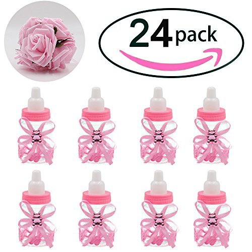 Noex Direct 24 Pcs Baby Shower Favor Mini Candy Bottle Gift Box Girl Baby Birthday Parties Decoration with 5 Pcs Artificial Flowers Rose (Pink) ()