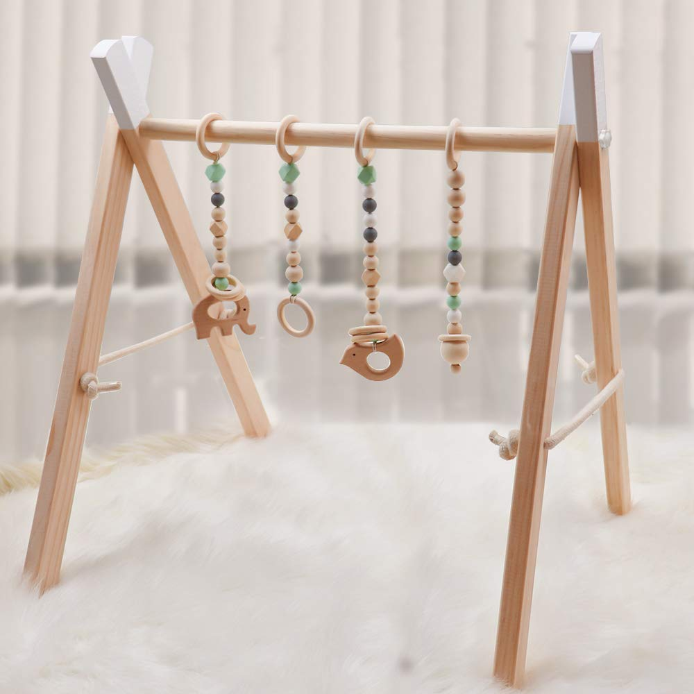 Wooden Baby Gym with 4 Baby Teething Toys Foldable Baby Play Activity Gym Frame Hanging Bar Newborn Gift