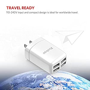 Yoobao US Portable 4 Port USB Wall Charger Power Adapter Multi-port Travel Charger Plug for iPhone X/ 8 Plus/ 8, iPad, Samsung Galaxy, Nexus 6P/ 5X, and Most Digital Devices - White