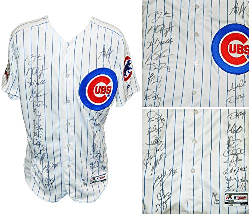 2016 Chicago Cubs Team Autographed Signed Chicago Cubs White Pinstripe Majestic Authentic Jersey w/2016 WS Patch (24 Sigs) - Certified Signature