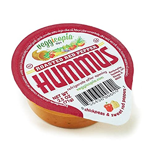 Veggicopia Dips, Roasted Red Pepper Hummus in 2.5oz Single Serving Cups (Pack of 24), No Refrigeration Required, Perfect for the Office or On the Go (Roasted Garlic Hummus)