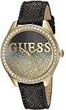 GUESS Women's U0823L6 Trendy Gold-Tone Watch with Black Dial , Crystal-Accented Bezel and Genuine Leather Strap Buckle