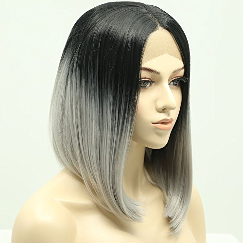 Ten Chopstics Short Bob Grey Ombre Lace Front Wigs Unprocessed Two Tone Human Hair Front Lace Wigs Bleached Knots Brazilian Virgin Hair for Black Women Natural Baby Hair in Stock (12inch)