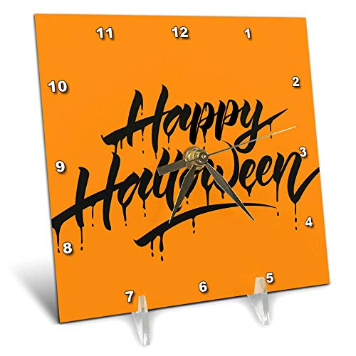 3dRose Sven Herkenrath Celebration - Scary Happy Halloween Quotes with Orange Background - 6x6 Desk Clock (dc_294690_1)