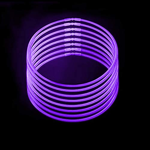 Lumistick Premium 22 Inch Glow Stick Necklaces with Connectors | Kid Safe Non-Toxic Glowstick Necklaces Party Pack | Available in Bulk and Color Varieties | Lasts 12 Hours (Purple, 50) -