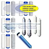 BULK SET 6 STAGE CLEAR ALKALINE REVERSE OSMOSIS FILTERS MEMBRANE REFILL/UPGRADE