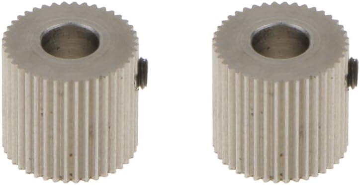 H HILABEE 2X Edelstahl Extruder Antriebsrad Welle F/ür 5mm 3D Drucker