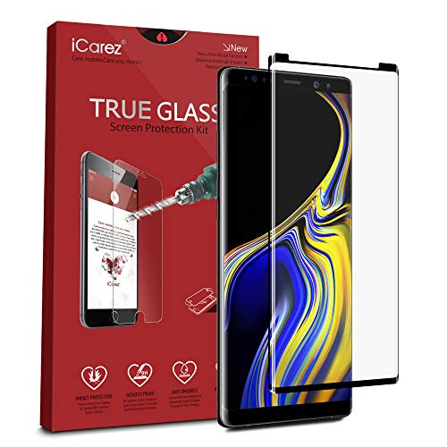 iCarez [Full Coverage Black Glass ] Screen Protector for Samsung Galaxy Note 9 6.4-Inches (Case Friendly) Easy Install [ 1-Pack 0.33MM 9H 3D] with Lifetime Replacement Warranty
