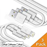 CellBee 3 Pack Apple Certified Charger Lightning To USB Cable - Super Fast Charging - Thick Cord - 3 ft -1 meter (White)
