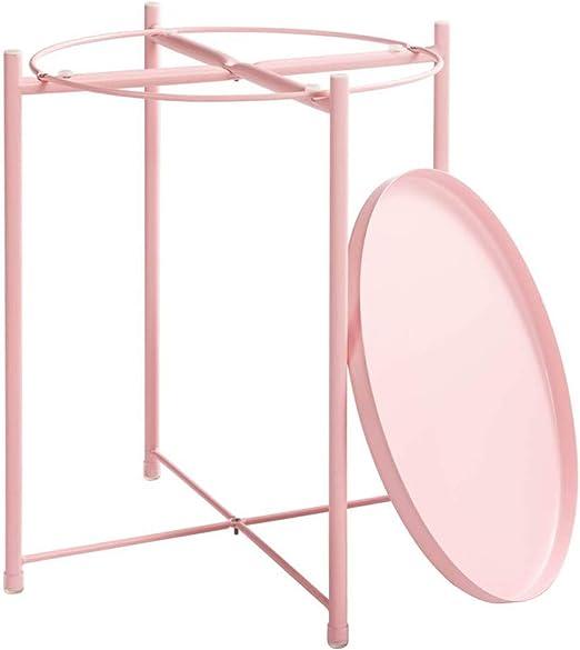 Creativa mesa redonda de pintura de hierro forjado, mesa de bandeja minimalista moderna sala de estar mesa auxiliar mesa de teléfono mesa de noche redonda pequeña mesa de centro Green 44×44×52cm: Amazon.es: