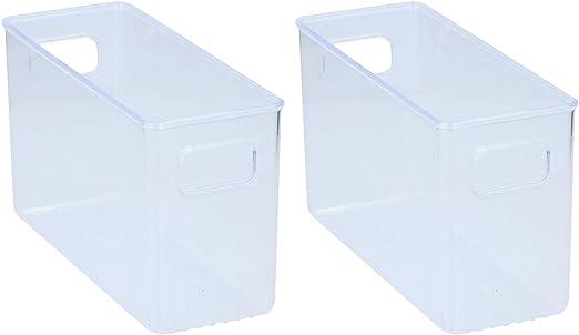 Q Sharp - Juego de 2 cajas organizadoras pequeñas de plástico transparente para nevera o armario, 25,5 x 10 x 15 cm: Amazon.es: Hogar