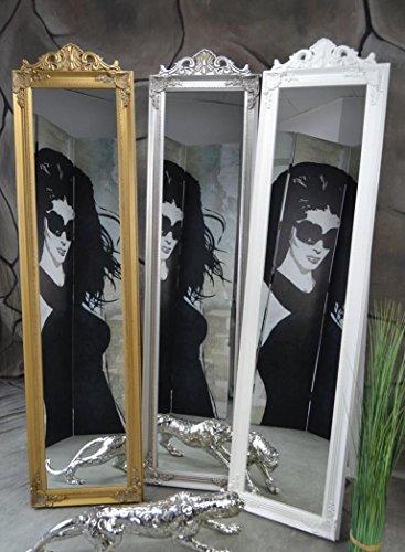 Livitat® Standspiegel Wandspiegel 160 x 40 cm Ankleidespiegel Garderobenspiegel antik barock rokoko Landhaus (Silber )