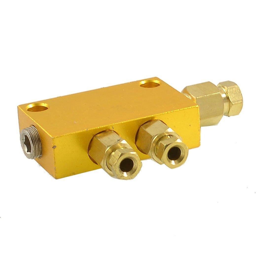 uxcell Air Pneumatic Brass Adjustable 2 Ways Distributor Manifold Block a12092400ux1364