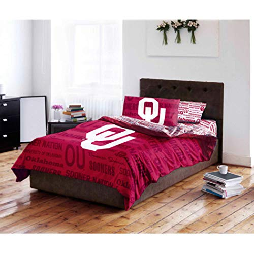 5pc NCAA University Oklahoma Sooners Comforter Full Set, Unisex, Red White, Team Spirit, Team Logo, Fan Merchandise, Sports Patterned Bedding, College Football Themed (Oklahoma Sooners Full Comforter)