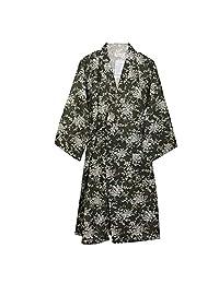 FANCY PUMPKIN Women's Kimono Robe Yukata Bathrobe Pajamas Blue Flower