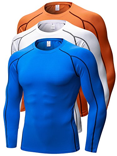(Queerier Men's Compression Shirts Baselayer Underlayer Top Long Sleeve T-Shirt 3 Pack)