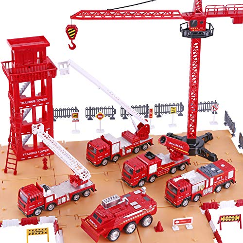 iPlay, iLearn Fire Truck Play Set, Firefighting Engine, Emergency Rescue Vehicles w/ Station, Extending Ladder, Educational Learning Toys, Gift for 2, 3, 4, 5, 6 Year Old Boys, Girls, Toddlers, -