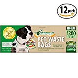 Green N Pack Premium Dog Waste Litter Bags for Pantries and to Refill Pet Waste Stations, 200-Count, Pack of 12