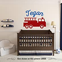 Zixinruies Fire Truck Wall Decal Personalized Child's name Removable Vinyl Nursery Decor Children Boys Firefighter Nursery Bedroom Decor
