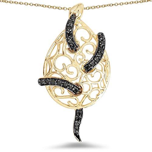 Johareez 14K Yellow Gold Plated 0.90 Carat Genuine Black Spinel .925 Sterling Silver Pendant