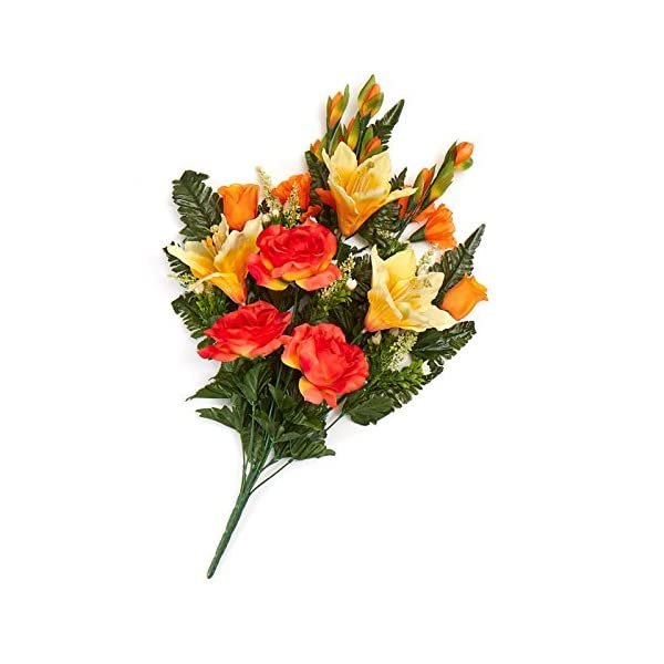 Factory Direct Craft Orange and Yellow Poly Silk Mixed Rose, Lily and Gladiolus Half Bush | for Memorials