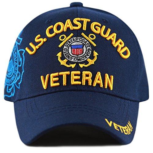THE HAT DEPOT Official Licensed Military U.S. Coast Guard Cap (Navy-Veteran)