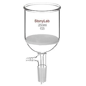 StonyLab Borosilicate Glass Buchner Filtering Funnel with Fine Frit, 76mm inner-diameter, 80mm Depth, with 24/40 Standard Taper Inner Joint and Vacuum Serrated Tubulation (250 mL)