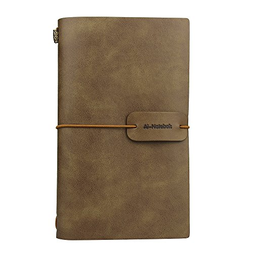 (Travel Journal Notebook Vintage Retro Handmade Leather Lined Journal Refillable Note Book for Taking Notes by ai-natebok, 4.72 X 7.87inch (White)