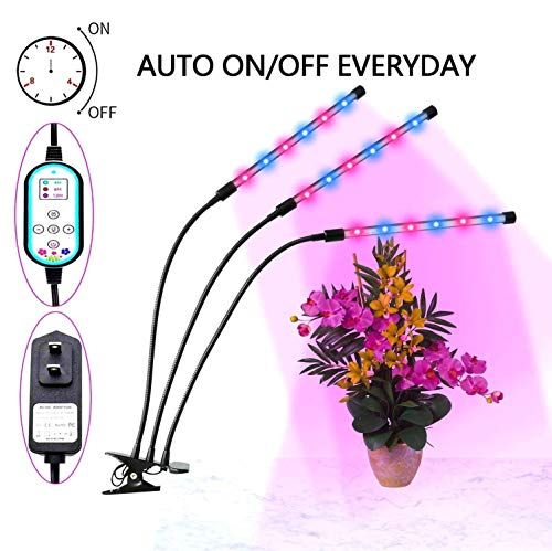 Plant Grow Lights, 36W Grow Light for Indoor Plants, Auto Turn ON&Off Every Day, 8 Dimmable Levels,4/8/12H Memory Timing, 360°Adjustable Gooseneck for Greenhouse Hydroponics Gardening by Elivern …