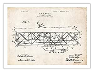 Steves Poster Store Wright Brothers Flyer Flying Machine Airplane Invention Patent Print (5 x 7)
