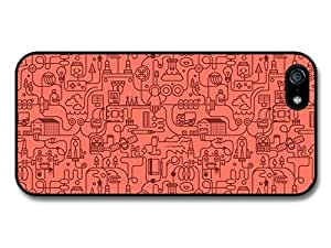 Cute Robots And Factory Pipes In A Cool Pink Hipster Style Design case for iPhone 5 5S