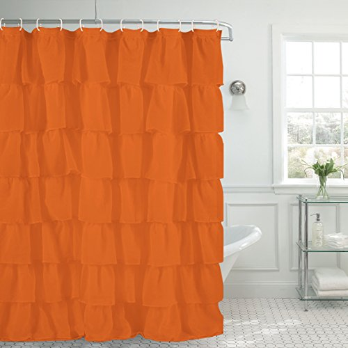 1pc Gypsy ruffled fully stitched curtain panel drape window treatment or shower curtain in 25 colors and 4 (Drapes Bathroom)