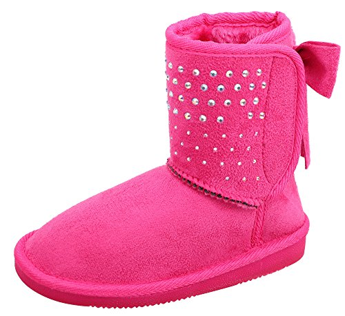 Girls Faux Suede Boots (Kids Girls Faux Suede Sherpa Lined Winter Boot With Sequins and Bow Fuchsia 1)