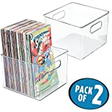 mDesign Home Storage Organizer Bin for Comic Books, Magazines - Pack of 2, Clear