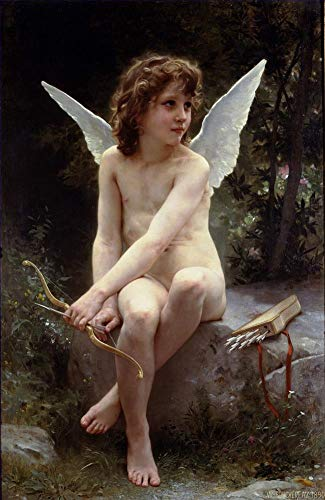($50-$2000 Handmade Oil Painting by College Teachers - Amour a laffut Angel William Adolphe Bouguereau Nude Classic NCC1 Canvas Art for Home Wall Decoration -Size 09)