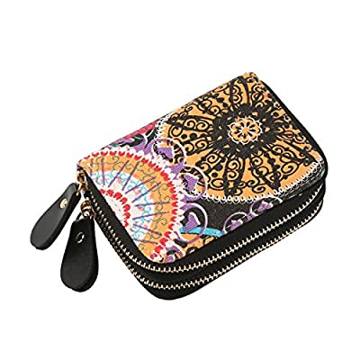 Small Card Wallet Holder Double Zipper Canvas Purse Case Clutch Bag