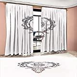 LedfordDecor Sun Room Darkening Wide Curtains Tattoo Style Animal Skull with Celestial Star Shape Antlers Doodle Customized Curtains Dark Purple Cinnamon White