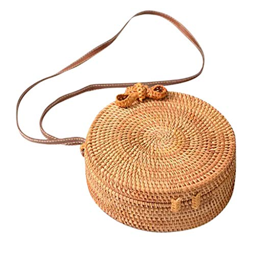 Todaies Circle Handwoven Bali Round Retro Rattan Straw Beach Crossbody Bag (As Show, Yellow 2) (Bali Rattan Bags)