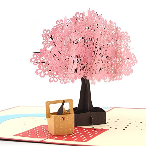 Rotus Handmade Cherry Blossom Pop Up Card, 3D Card, Springtime Card, Birthday Card, Dating Card for Husband, Wife, Boyfriend, Girlfriend (Cherry Blossom & Picnic Basket) (Cardinal Basket)