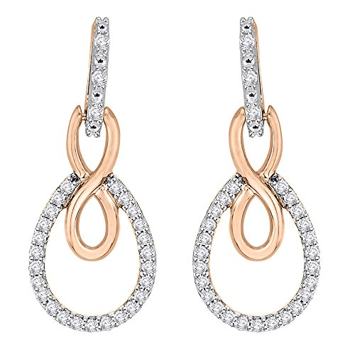 Diamond Infinity Fashion Earrings in 14K Two Tone Rose Gold (1/4 cttw, Color GH, Clarity I2-I3)