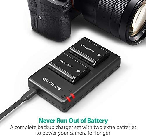 NP-FW50 RAVPower Camera Batteries Charger Set for Sony A6000 Battery, A6500, A6300, A6400, A7, A7II, A7RII, A7SII, A7S, A7S2, A7R, A7R2, A55, A5100, ...