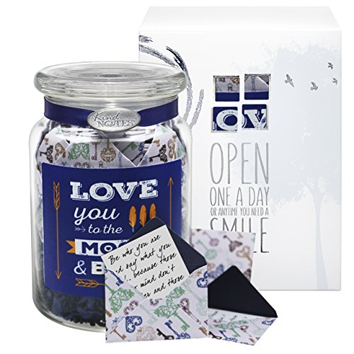 Glass KindNotes LOVE Keepsake Gift Jar of Messages for Him or Her Birthday, Anniversary, Long Distance Relationship - Vintage Keys Moon and Back