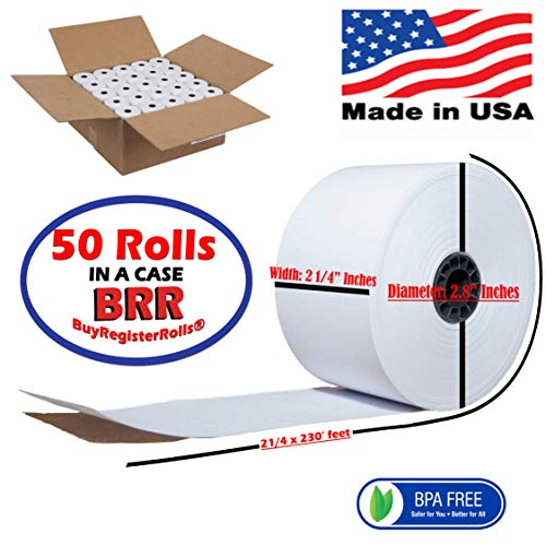 2-1/4 x 230' 1-Ply Thermal Paper 50 Rolls BPA Free Cash Register Tape BPA FREE MADE IN USA from BuyRegisterRolls ()