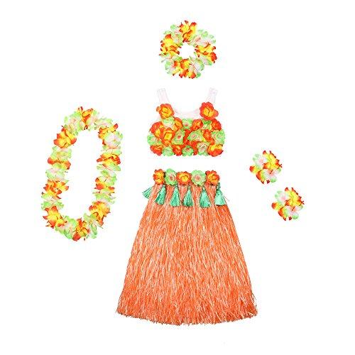HOTER Hawaiian Hula Dancer Grass Skirt With Flower Costume Set, Six-Piece Artificial Grass Skirt Set, Various Colors (Hula Dancer Costume)