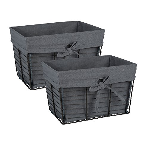 Home Traditions Vintage Metal Chicken Wire Storage Basket with Removable Fabric Liner, Set of 2 Medium Sized, Grey Fabric with Grey Wire (Home Decor Gift Basket)