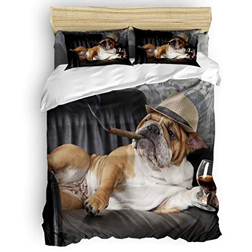 Trendier Kids Bedding Set Soft Duvet Cover Set for Boys Girls,Dog Smoking on The Couch Breathable and Lightweight Bed Sheet Sets,4 Pieces Include 1 Flat Sheet 1 Duvet Cover and 2 Pillow Cases King