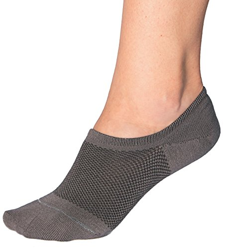 Bam&bü Women's Premium Bamboo No Show Casual Socks - 3 pairs - Grey - Medium