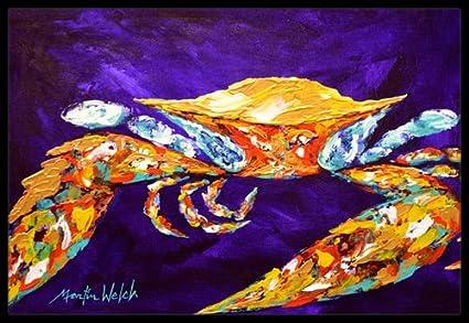 Carolines Treasures By Chance Crab in Aqua Blue Indoor or Outdoor Mat 18 x 27 Multicolor