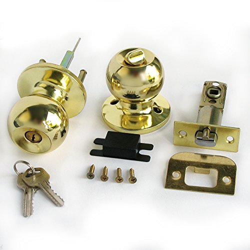 Stainless Gold Color Keyed Entry Rotation Round Door Knobs Handle Entrance Passage Lock